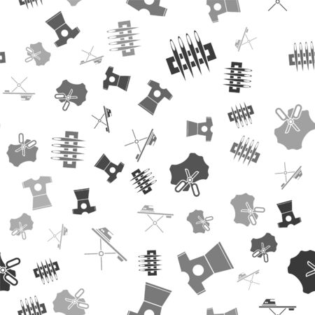 Set Needle for sewing, Woman dress, Scissors and leather and Electric iron and ironing board on seamless pattern. Vector