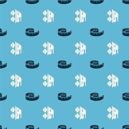 Set Tape measure and Electric iron on seamless pattern. Vector