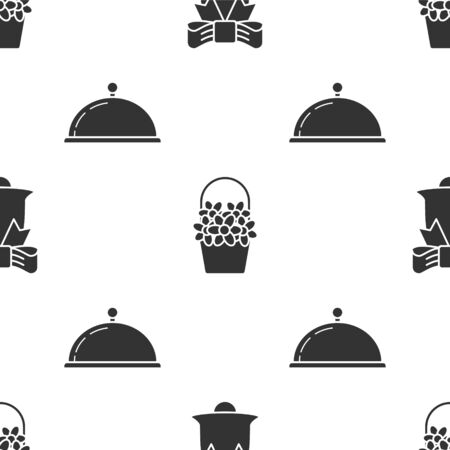 Set Ringing bell, Flowers in a basket and Covered with a tray of food on seamless pattern. Vector