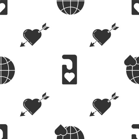 Set The heart world love, Please do not disturb with heart and Amour symbol with heart and arrow on seamless pattern. Vector