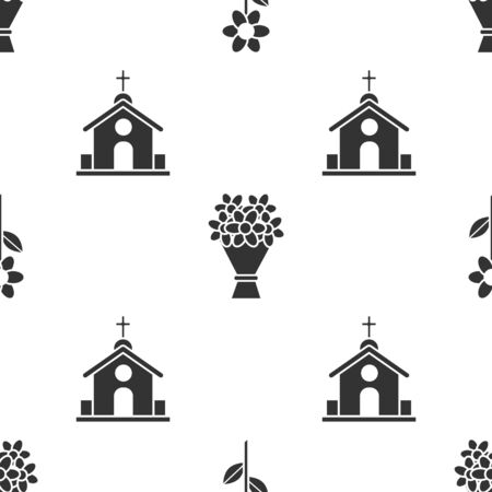 Set Flower, Bouquet of flowers and Church building on seamless pattern. Vector Çizim
