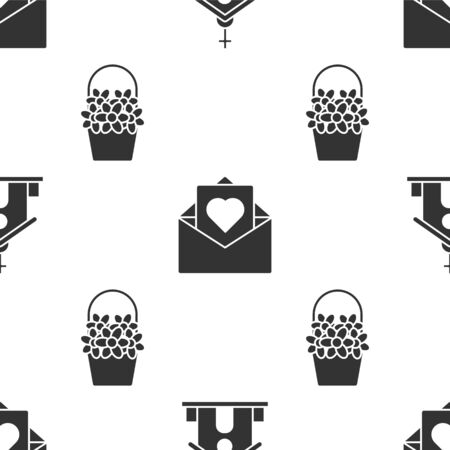 Set Church building, Envelope with Valentine heart and Flowers in a basket on seamless pattern. Vector