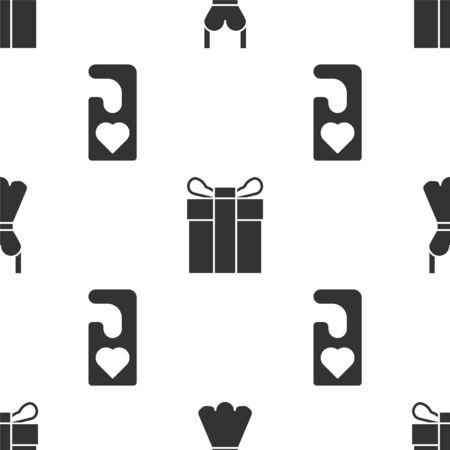 Stellen Sie Frauenkleid, Geschenkbox ein und stören Sie bitte nicht mit Herz auf nahtlosem Muster. Vektor