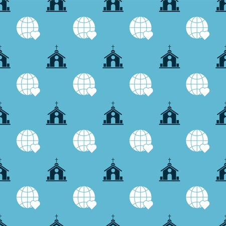Set Church building and The heart world love on seamless pattern. Vector Çizim