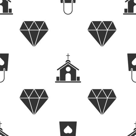 Set Shopping bag with heart, Church building and Diamond on seamless pattern. Vector