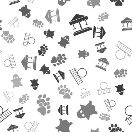 Set Attraction carousel, Ghost, Roller coaster and Paw print on seamless pattern. Vector
