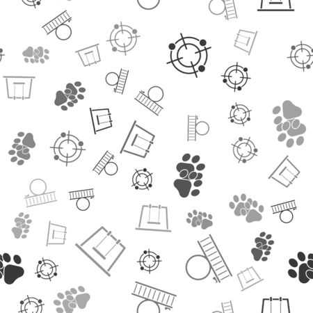 Set Target sport for shooting competition, Roller coaster, Paw print and Swing on seamless pattern. Vector