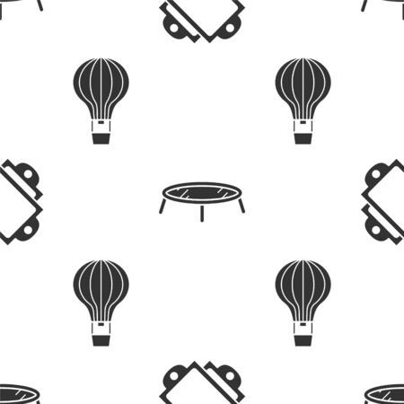 Set Ticket, Jumping trampoline and Hot air balloon on seamless pattern. Vector