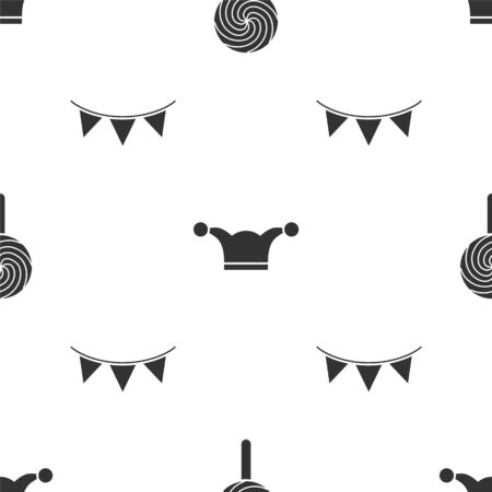 Set Lollipop, Jester hat with bells and Carnival garland with flags on seamless pattern. Vector