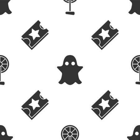 Set Unicycle or one wheel bicycle, Ghost and Ticket on seamless pattern. Vector