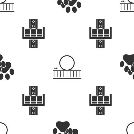 Set Paw print, Roller coaster and Attraction carousel on seamless pattern. Vector