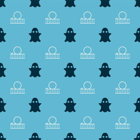Set Ghost and Roller coaster on seamless pattern. Vector Illustration