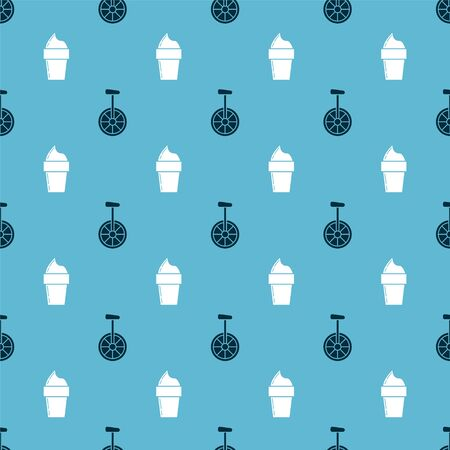 Set Unicycle or one wheel bicycle and Ice cream in waffle cone on seamless pattern. Vector