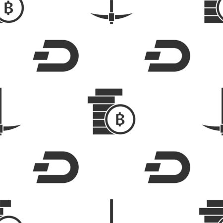 Set Pickaxe, Cryptocurrency coin Bitcoin and Cryptocurrency coin Dash on seamless pattern. Vector