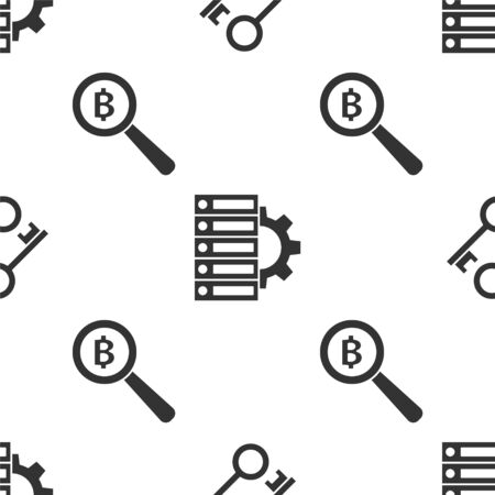 Set Cryptocurrency key, Server and gear and Magnifying glass with Bitcoin on seamless pattern. Vector Vector Illustration