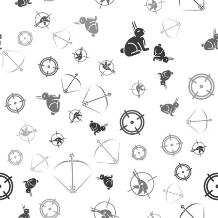 Set Rabbit, Hunt on duck with crosshairs, Target sport for shooting competition and Bow and arrow in quiver on seamless pattern. Vector