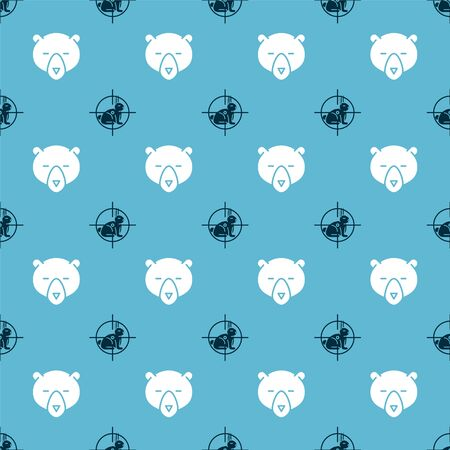 Set Hunt on rabbit with crosshairs and Bear head on seamless pattern. Vector