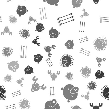 Set Hipster arrows, Bear head, Bear head on shield and Moose head with horns on seamless pattern. Vector