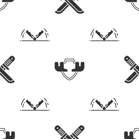 Set Crossed hunter knife, Moose horns on shield and Trap hunting on seamless pattern. Vector