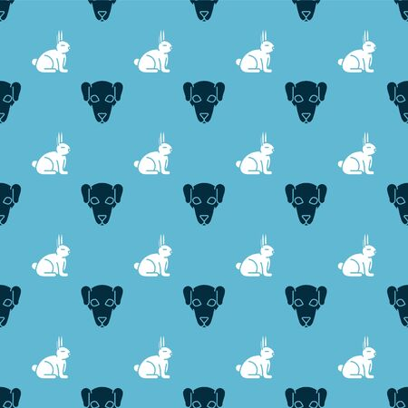 Set Hunting dog and Rabbit on seamless pattern. Vector Vector Illustration