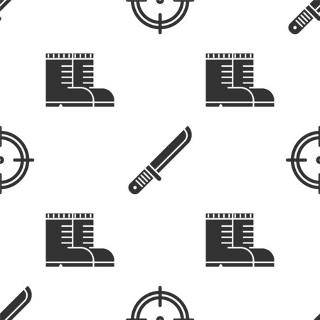 Set Target sport for shooting competition, Hunter knife and Hunter boots on seamless pattern. Vector