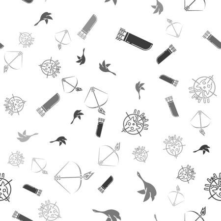Set Quiver with arrows, Flying duck, Hunt on deer with crosshairs and Bow and fire arrow on seamless pattern. Vector
