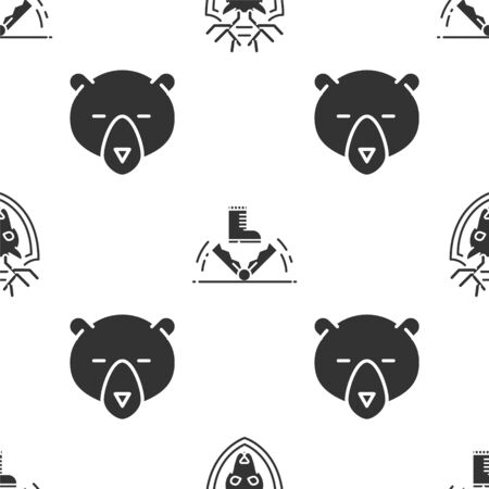 Set Deer head with antlers on shield, Trap hunting and Bear head on seamless pattern. Vector