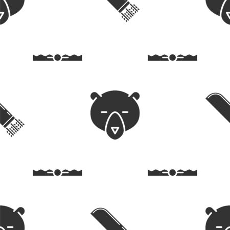 Set Quiver with arrows, Bear head and Trap hunting on seamless pattern. Vector
