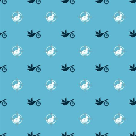 Set Hunt on duck with crosshairs and Hunt on rabbit with crosshairs on seamless pattern. Vector