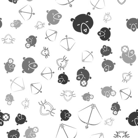 Set Bear head, Bow and arrow in quiver, Hunt on bear with crosshairs and Deer antlers on shield on seamless pattern. Vector