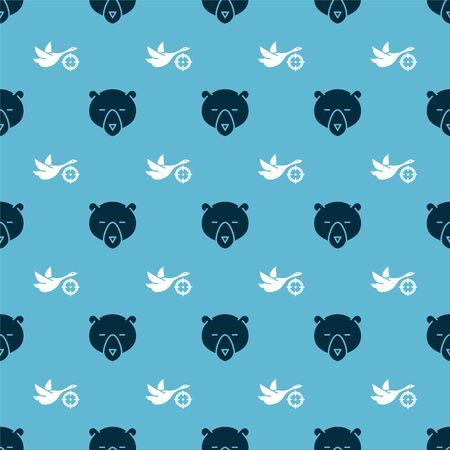 Set Bear head and Hunt on duck with crosshairs on seamless pattern. Vector Illustration