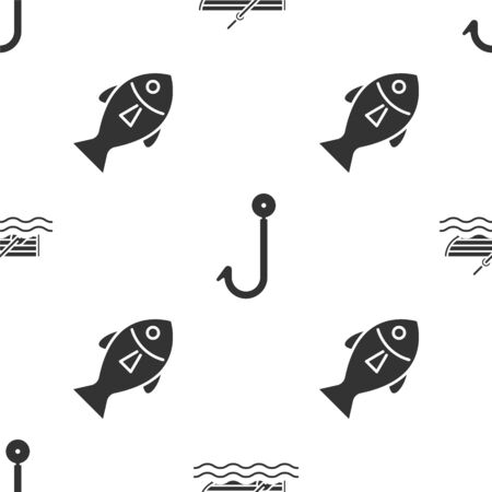 Set Fishing boat with oars on water, Fishing hook and Fish on seamless pattern. Vector