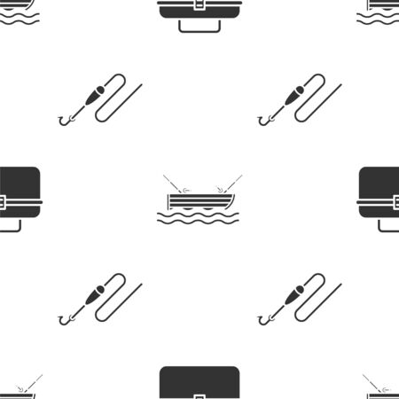 Set Case or box container for wobbler and gear fishing equipment, Fishing boat with fishing rod on water and Fishing line with hook and float on seamless pattern. Vector