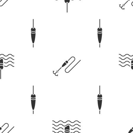 Set Fishing float in water, Fishing line with hook and float and Fishing float on seamless pattern. Vector