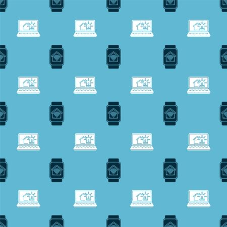 Set Smart watch with smart home with wifi and Laptop with smart house and alarm on seamless pattern. Vector