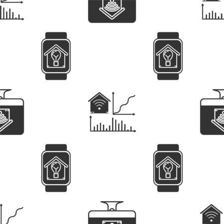 Set Computer monitor with smart home with wifi, Smart home with wifi and Smart watch with smart house and light bulb on seamless pattern. Vector Stok Fotoğraf - 138452727