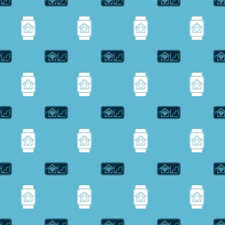 Set Mobile phone with smart home with wifi and Smart watch with house under protection on seamless pattern. Vector