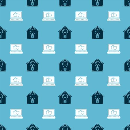 Set Smart house and light bulb and Laptop with house under protection on seamless pattern. Vector Ilustração