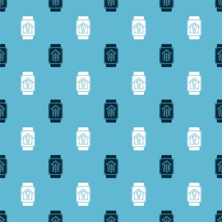 Set Smart home with smart watch and Smart watch with smart house and light bulb on seamless pattern. Vector Stok Fotoğraf - 138452830