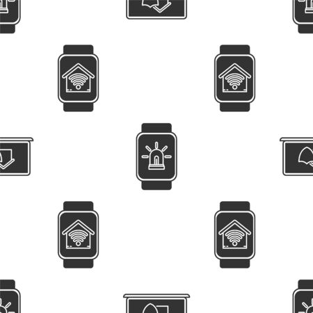 Set Laptop with house under protection, Smart watch with smart house and alarm and Smart watch with smart home with wifi on seamless pattern. Vector