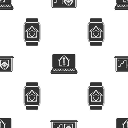 Set Laptop with smart home with wifi, Laptop with house temperature and Smart watch with house under protection on seamless pattern. Vector Stok Fotoğraf - 138452914