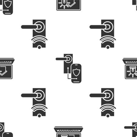 Set Laptop with smart house and alarm, Digital door lock with wireless technology for lock and Digital door lock with wireless technology for unlock on seamless pattern. Vector
