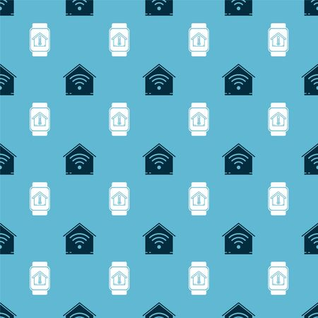 Set Smart home with wifi and Smart watch with house temperature on seamless pattern. Vector Stok Fotoğraf - 138452922