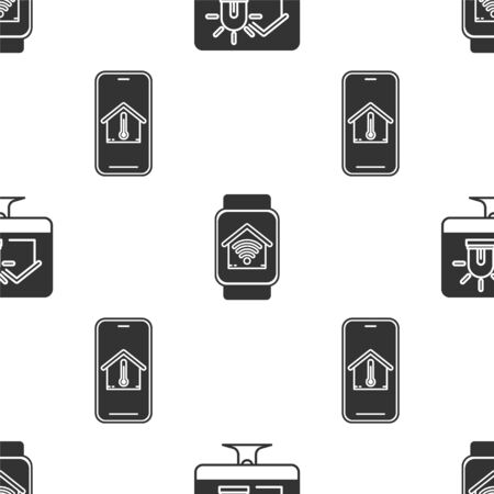Set Computer monitor with smart house and alarm, Smart watch with smart home with wifi and Mobile phone with house temperature on seamless pattern. Vector
