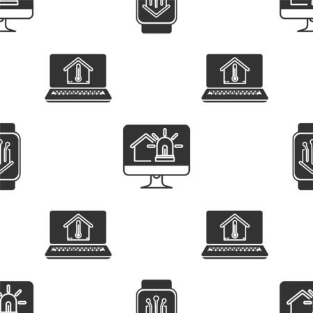 Set Smart home with smart watch, Computer monitor with smart house and alarm and Laptop with house temperature on seamless pattern. Vector Stok Fotoğraf - 138452930