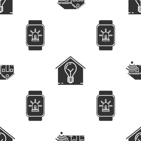 Set Smart home with wifi, Smart house and light bulb and Smart watch with smart house and alarm on seamless pattern. Vector