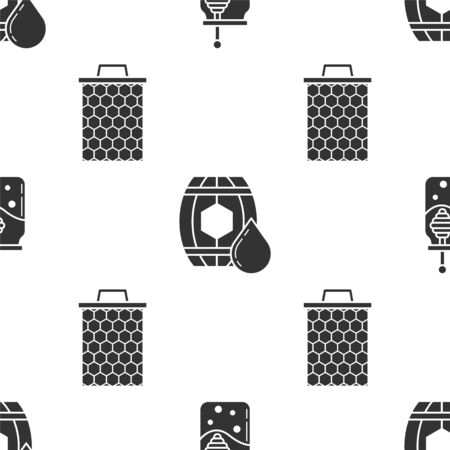 Set Jar of honey and honey dipper stick, Wooden barrel with honey and Honeycomb on seamless pattern. Vector