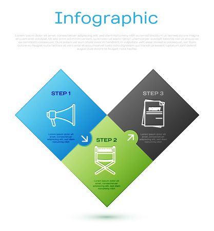 Set line Megaphone , Scenario and Director movie chair . Business infographic template. Vector