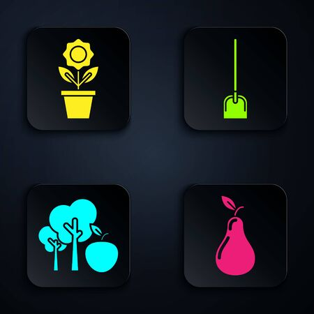 Set Pear, Flower in pot, Tree with apple and Shovel. Black square button. Vector