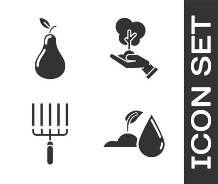 Set Watering sprout, Pear, Garden rake in work and Tree in hand of environmental protection icon. Vector